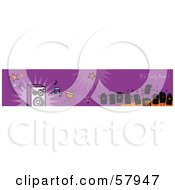Royalty Free RF Clipart Illustration Of A Purple Its Party Time Greeting Banner With Party People And Music by NL shop