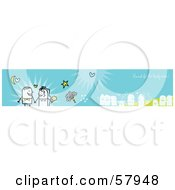 Royalty Free RF Clipart Illustration Of A Blue Wedding Banner Of The Bride And Groom And Guests by NL shop