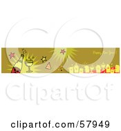 Green Happy New Year Greeting Banner With Party People And Champagne