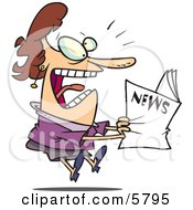 Paranoid Woman Reading The News Clipart Illustration