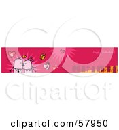 Pink Happy Valentine Greeting Banner With A Smooching Couple