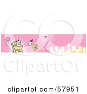 Royalty Free RF Clipart Illustration Of A Pink Its A Girl Banner With A Baby Boy And Family by NL shop