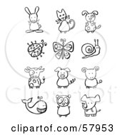 Royalty Free RF Clipart Illustration Of A Digital Collage Of Black And White Animals And Bugs