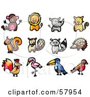 Royalty Free RF Clipart Illustration Of A Digital Collage Of Animals Monkey Lion Rhino Cheetah Squirrel Beaver Raccoon Hedgehog Rooster Flamingo Toucan Robin by NL shop