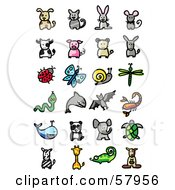Royalty Free RF Clipart Illustration Of A Digital Collage Of Animals Dog Cat Rabbit Mouse Cow Pig Ram Donkey Ladybug Butterfly Snail Dragonfly Snake Shark Bat Scorpion Whale Panda Elephant Turtle Zebra Giraffe Chameleon And Kangar