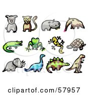 Royalty Free RF Clipart Illustration Of A Digital Collage Of Animals Koala Lemur Hippo Anteater Crocodile Frog Salamander Tortoise Triceratops Brontosaurus Stegosaur And Tyrannosaurus Rex by NL shop