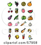 Royalty Free RF Clipart Illustration Of A Digital Collage Of Fruits Veggies Fast Food And Beverages