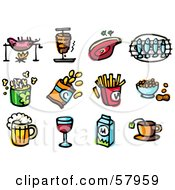 Royalty Free RF Clipart Illustration Of A Digital Collage Of Food Roasting Pig Ham Steak Fish Popcorn Chips Fries Peanuts Beer Wine Milk And Tea by NL shop