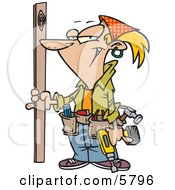 Blond Caucasian Handy Woman Doing Repairs On A Building Clipart Illustration