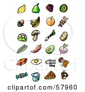 Royalty Free RF Clipart Illustration Of A Digital Collage Of Fruit Veggies Fast Food And Drinks by NL shop