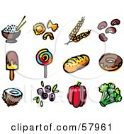 Royalty Free RF Clipart Illustration Of A Digital Collage Of Food Rice Pasta Wheat Beans Popsicle Loli Pop Bread Donut Coconut Blueberries Bell Pepper And Broccoli by NL shop