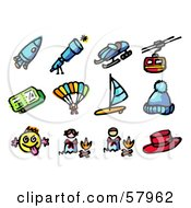 Royalty Free RF Clipart Illustration Of A Digital Collage Of A Rocket Telescope Snowmobile Cable Car Ticket Parachuting Wind Surfing Hat Funny Face Campfire Hat