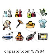 Digital Collage Of Kitchen Items Seasonings Condiments Oil Herbs Tools Hats Pans And Oven