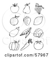 Royalty Free RF Clipart Illustration Of A Digital Collage Of Back And White Fruit And Veggies Apple Pear Grapes Orange Strawberry Lemon Eggplant Peas Cauliflower Pumpkin Carrot And Tomato by NL shop