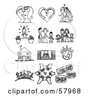 Royalty Free RF Clipart Illustration Of A Digital Collage Of Black And White Couples Families A Home And Friends by NL shop