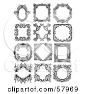 Royalty Free RF Clipart Illustration Of A Digital Collage Of Elegant Black And White Picture Frames