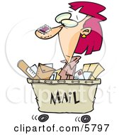 Woman In A Mail Cart Stamped With Postage Clipart Illustration