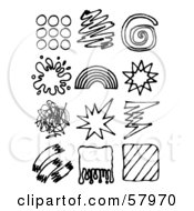 Royalty Free RF Clipart Illustration Of A Digital Collage Of Black And White Scribbles Rainbows Splatters And Drawings by NL shop