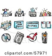 Royalty Free RF Clipart Illustration Of A Digital Collage Of Business Meetings Calls Announcements Voting Planning News And Cell Phone