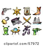 Royalty Free RF Clipart Illustration Of A Digital Collage Of Adventure Icons Pistil Sheriff Badge Wanted Boots Hook Pirate Flag Swords Ship Alien Ufo Robot And Ray Gun