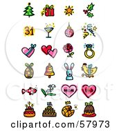 Digital Collage Of Holiday Icons Christmas New Year Valentines Day Easter Fathers Day Mothers Day And Birthdays