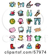 Royalty Free RF Clipart Illustration Of A Digital Collage Of Dining Cooking Clothes And Household Items by NL shop