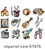 Royalty Free RF Clipart Illustration Of A Digital Collage Of Entertainment Icons Big Top Rabbit In Hat Ball Masks Portrait Paint Palette Guitar Music Clapperboard Camera Letter And Ballet Slippers by NL shop
