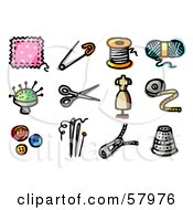 Digital Collage Of Sewing Items Patch Safety Pin Thread Yarn Needles Scissors Mannequin Tape Measure Buttons Zipper And Thimble