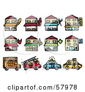 Royalty Free RF Clipart Illustration Of A Digital Collage Of Storefronts And Vehicles