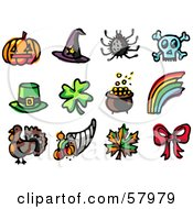 Royalty Free RF Clipart Illustration Of A Digital Collage Of Holiday Icons Pumpkin Witch Hat Spider Skull Leprechaun Hat Clover Pot Of Gold Rainbow Turkey Horn Of Plenty Autumn Leaf And Bow by NL shop