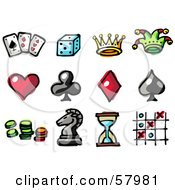 Royalty Free RF Clipart Illustration Of A Digital Collage Of Entertainment Items Playing Cards Dice Crown Jester Hat Heart Spade Club Diamond Poker Chips Chess Piece Hourglass And Tic Tac Toe by NL shop