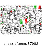 Crowd Of Stick People Characters With An Italy Flag