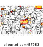 Crowd Of Stick People Characters With A Spain Flag