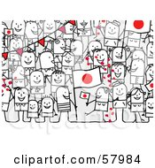 Royalty Free RF Clipart Illustration Of A Crowd Of Stick People Characters With A Japan Flag by NL shop