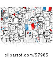 Crowd Of Stick People Characters With A France Flag