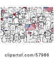 Crowd Of Stick People Characters With An American Flag