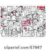 Royalty Free RF Clipart Illustration Of A Crowd Of Stick People Characters With A Union Flag by NL shop