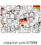 Crowd Of Stick People Characters With A German Flag