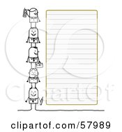 Royalty Free RF Clipart Illustration Of Stick People Characters Standing Beside Blank Lined Paper