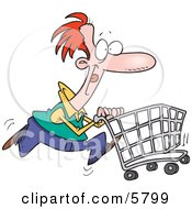 Red Haired Caucasian Man Pushing A Shopping Cart Clipart Illustration