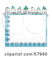 Royalty Free RF Clipart Illustration Of Stick People Characters Looking Over A Blank Blue Winter Sign by NL shop