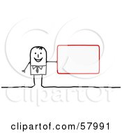 Stick People Character Holding A Blank Red Sign