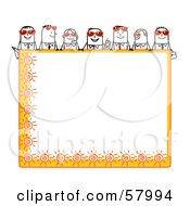 Stick People Characters Looking Over A Blank Orange Summer Sign