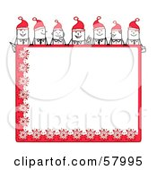 Royalty Free RF Clipart Illustration Of Stick People Characters Looking Over A Blank Red Christmas Sign by NL shop