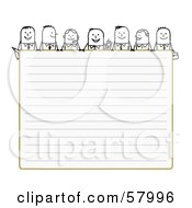 Stick People Characters Looking Over Blank Lined Paper