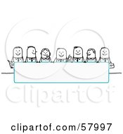 Royalty Free RF Clipart Illustration Of Stick People Characters Looking Over A Blank Blue Sign