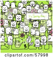 Royalty Free RF Clipart Illustration Of A Crowd Of Stick People Characters On Green With An Its Spring Time Greeting