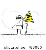 Royalty Free RF Clipart Illustration Of A Stick People Character Officer Holding A Danger Sign At A Crime Scene by NL shop
