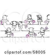Royalty Free RF Clipart Illustration Of Stick People Character Ladies Shopping And Talking On Cell Phones