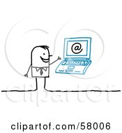 Royalty Free RF Clipart Illustration Of A Stick People Character With A Laptop And An Arobase Symbol by NL shop